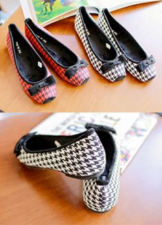 BabiNPumkin Ribbon Houndstooth Ballerina FlatsBeat fashion laziness and aim for a classic look with these ballerina flats. With the ribbon accent, these flats also have square toes and houndstooth pattern. In case of fashion laziness, just slip on a shift dress and achieve mod fashion.