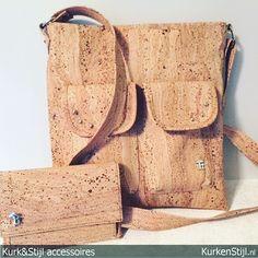 Mooie set van kurken tas met portemonnee