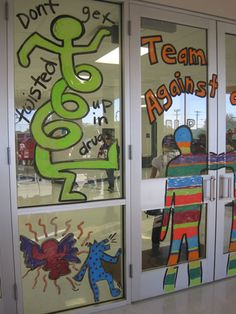 Keith Haring inspired mural for Red Ribbon Week - Art club? Art Education Lessons, Art Lessons Elementary, Keith Haring, Red Ribbon Week, Visual Learning, Middle School Art, School Decorations, Teaching Art, Teaching Ideas