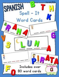 Spanish Spell-It Word Cards: These cards feature 2, 3, and 4 syllable words that students can spell using letter tiles, magnets, etc. Great developmental spelling practice! $