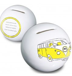 Yellow Camper Van Money Box   Moneyboxes   Exclusively Personal Gifts For Women, Gifts For Her, Personalised Gifts For Him, Money Box, Camper Van, Piggy Bank, Pink, Yellow, Blue