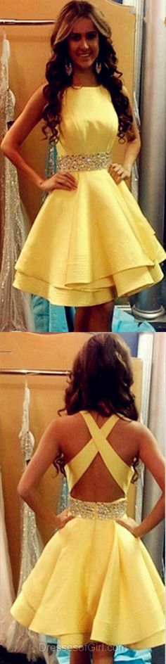 Backless Homecoming Dresses, Yellow Prom Dresses, Short Cocktail Dress, Modest Formal Gowns, Spring Girl Dress