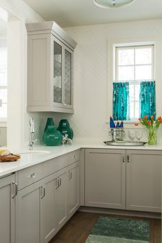 grey cabinets, white counters (House of Turquoise: Martha OHara Interiors)