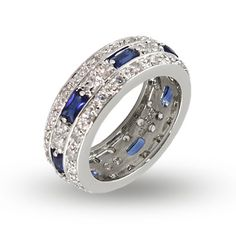Perfect for an anniversary or for everyday, this CZ Anniversary Band with Baguette Sapphire CZs is exquisitely crafted with blue & clear CZ stones.