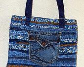 Upcycled denim tote bag. $45.00, via Etsy.
