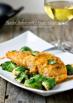 Roasted Salmon with Orange-Ginger Glaze — Light Orange Bean