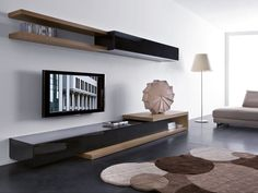 living room tv wall unit designs Modern Living Room with Slim Wall Mounted TV Unit Design Dream Living Room Tv, Living Room Modern, Living Room Designs, Living Room Storage, Bedroom Designs, Wall Unit Designs, Tv Unit Design, Tv Wall Design, Tv Design