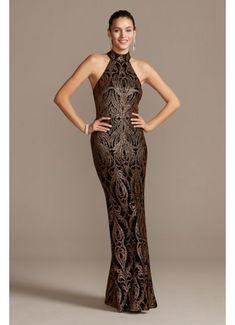 Slinky Glitter Print T-Back Gown A21927
