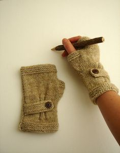 Autumn Finds/ Arm Warmer / Hand Knit Fingerless Gloves  / Medium size fits most. / Autumn color/ Front Page. $28.00, via Etsy.
