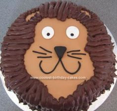 Homemade Lion Cake: I made this Lion cake for my 10yr old, it's very gooey and but really very easy to make,  I used a 10inch sponge cake, filled and lightly covered with