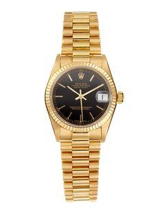 Tourneau Rolex DateJust 18K Gold Watch