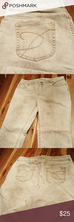 "PLUS SZ Chico's Platinum Denim Ultimate Fit Jeans 70% cotton 28% polyester and 2% spandex. Trendy khaki pigment finish on these comfortable jeans with barely flare bottoms.. Tag reads 2, in Chicos sizing, this is a size 12 but please refer to measurements. In my opinion, these are closer to a size 14. Waist: 33.5"" (flat lay) Hips: 21"" Inseam: 30.5"" Leg opening: 8"" Chico's Jeans Flare & Wide Leg"