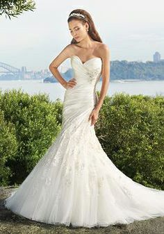 Charming Mermaid Floor Length Taffeta & Tulle Sweetheart Asymmetric Waist Wedding Dress - 1300103685B - US$239.99 - BellasDress