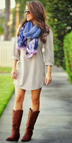 Light Grey Mini Dress, Colorful Scarf And Dark Brown Long Boots