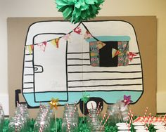 MaryJanes and Galoshes: Camping Party Camper Decoration Tutorial Camping Parties, Camping Theme, Camping Life, School Themes, Classroom Themes, School Ideas, Pta School, School Daze, Trash Party