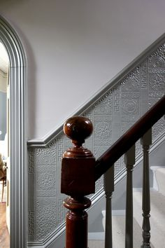 Edwardian hallway, entrance hall, salon, grey hallway, farrow and ball livi Dado Rail Hallway, Grey Hallway, Dado Rail Bedroom, Dado Rail Living Room, Hallway Paint, Tiled Hallway, Entry Hallway, Entrance Hall, Anaglypta Wallpaper