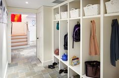 Mudroom Lockers - Design photos, ideas and inspiration. Amazing gallery of interior design and decorating ideas of Mudroom Lockers in laundry/mudrooms by elite interior designers. Laundry Room Tile, Room Tiles, Built In Storage, Locker Storage, Shoe Storage, Storage Ideas, Storage Units, Coat Storage, Storage Systems