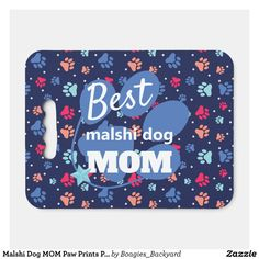 Malshi Dog MOM Paw Prints Pattern Seat Cushion - Stadium & Seat Cushions Gift Idea. Stadium Seat Cushions, Stadium Seats, Logo For School, Navy Blue Background, Paw Prints, Mom Blogs, Dog Mom, Fundraising, Gifts For Mom