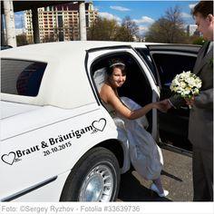 Autoaufkleber Hochzeit - Braut und Bräutigam mit Datum