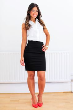 "Mimi Ikonn ""Office lookbook"" – H&M white blouse, H&M black pencil skirt, Kenneth Jay necklace, Melissa shoes, Michael Kors watch 