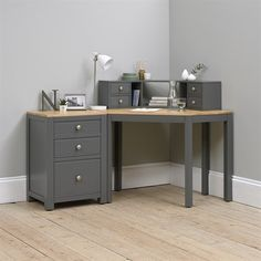 Beautiful Chalford Charcoal Painted Corner Desk with Topper and Filing Cabinet. Free UK Delivery on all office set orders. Bedroom Corner, Room Design Bedroom, Bedroom Desk, Blue Bedroom, Bedroom Designs, Blue Office Decor, Diy Office Desk, Office Ideas, Office Suite