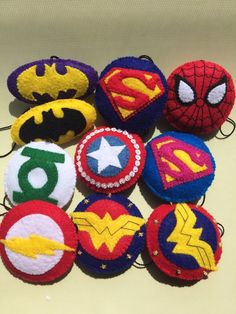 Items similar to Superhero Logo Ornaments on Etsy Felt Crafts, Diy And Crafts, Crafts For Kids, E Textiles, Felt Ornaments Patterns, Softie Pattern, Rock Painting Designs, Felt Christmas Ornaments, Penny Rugs
