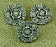 Mechanism Industrial Steampunk Button - Gear Sprocket Industrial - Antique Brass Metal Button - D3
