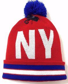 NEW YORK POM BEANIE Giants-Color Red/White/Blue Winter Hat Men/Women Big-NY-Logo #KBTrading #Beanie