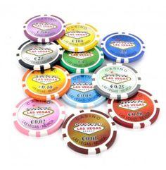 Pokerchips met waarde in Euro. Zeer uitgebreide serie met fiches vanaf €0,01 tot en met waarde €500,-.   Deze luxe clay composite chips wegen 13,5 gram en zijn eenvoudig te kopen via pokerchips.nl.