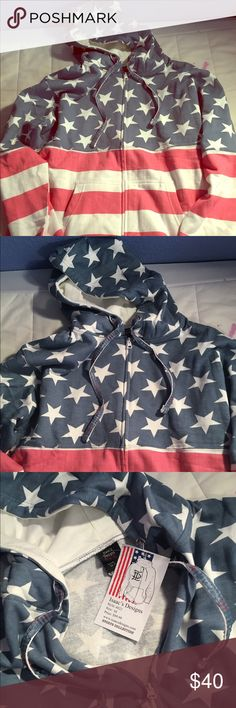 BRAND NEW! American Flag Zip-Up Hoodie Brand New!! From Isaac's Designs Isaac's Designs Tops Sweatshirts & Hoodies