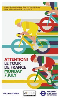 Tour de France 2014 side poster by Adrian Johnson for London Transport Logo Velo, France Sport, Adrian Johnson, Vive Le Sport, Designers Gráficos, London Transport Museum, Bike Poster, Vintage Poster, Bicycle Art