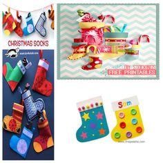 manualidades-navidad-niños Toy Craft, Craft Box, Winter Activities, Toddler Activities, Paper Toys, Paper Crafts, Diy Stockings, Free Printables, Crafts For Kids
