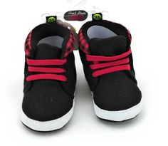 8fcd98b5c140 First Steps Infant Boys Casual Shoes Black Red White Size 3 (6-9 Months