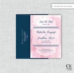 Save the Date. Wedding Invitation. Pink by cwdesigns2010 on Etsy