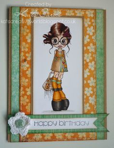 Brightly coloured retro birthday card featuring a Saturated Canary digi stamp
