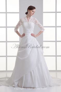 399e51065e Satin Strapless Neckline A-line Sweep train Gathered Ruched Wedding Dress  with Jacket Wedding Dresses