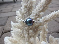 Black Peacock Pearl and White Leather Choker by pamshaffer on Etsy, $17.00