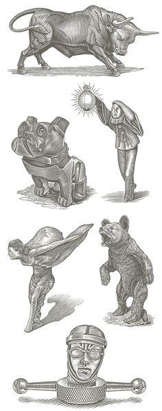 SER Steak+Spirits Mascot Illustrations on Behance