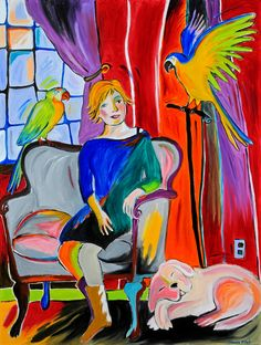 "Stacie Flint-Woman with Parrots and a Dog - 48""x36"""
