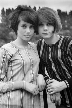 sisters; Catherine Deneuve and Francoise Dorleac, 1967