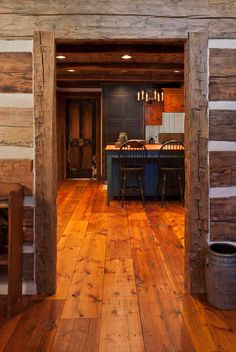 I took this shot at an excellent hewn-log home in Kentucky. Notice the David T. Smith kitchen.