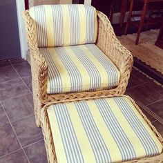 Blanche Deveraux would have loved this in her living room!! Vintage blue and yellow comfy chair w ottoman #vintage#wicker #antiques #consigners #consignment #retro - @theplymouthexchange