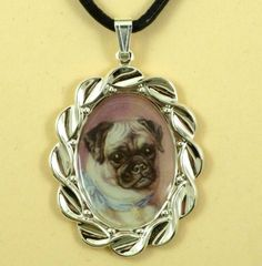 Altered Art Pug in Scalloped Silver Tone Pendant by dogonitart, $7.99