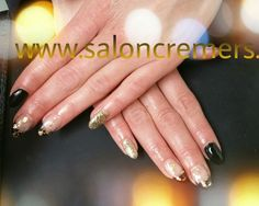 Black and gold nails gold leafs black french manicure glitters nail art foil bladgoud