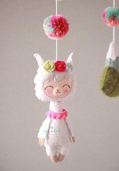 Llama Baby Mobile Llama and Cactus Crib Mobile Pom Pom Llama Boho Nursery, Felt Crafts, Diy Crafts, Baby Crib Mobile, Wooden Hangers, Felt Animals, Wool Felt, Cribs, Baby Shower Gifts