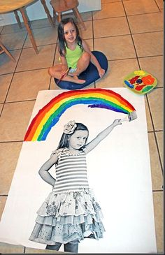 "Kid's B-day idea: ""My BIGGEST discovery was that you can print a THREE foot by FOUR foot photo at Staples for super duper cheap! I did it online and they are called engineering prints. Its just printed on bond paper,not photo paper, but its so cool. Art For Kids, Crafts For Kids, Arts And Crafts, Diy Crafts, Kid Art, Unicorn Art, Rainbow Unicorn, Do It Yourself Design, Foot Photo"