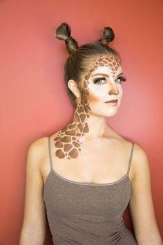 Frisur und Schminke für ein Giraffe Kostüm