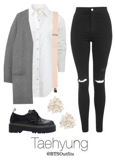 """BTS Jap. Ver. Inspired: Taehyung"" by btsoutfits ❤ liked on Polyvore featuring rag & bone, Topshop and Cara"