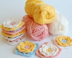 Crochet Flower Granny Squares-to do with all light coloured yarns I have-:-)