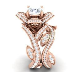 A Museum Perfect 2CT Russian Lab Diamond Rose Gold Floral Bridal Set